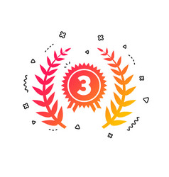 Third place award sign icon prize for winner vector