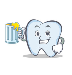 tooth character cartoon style with juice vector image