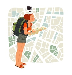 Tourist girl with map in the city vector image
