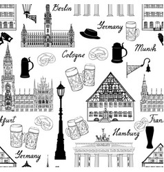 Travel seamless pattern germany background famous vector