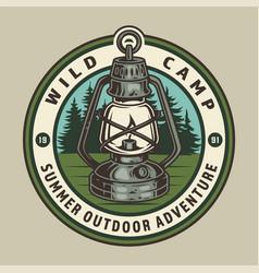 Vintage summer camping round emblem vector