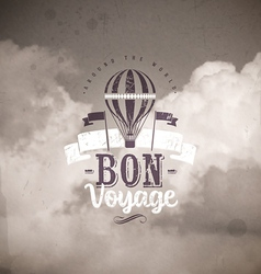 Vintage type design with hot air balloon vector image