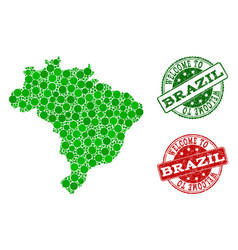 Welcome composition of map of brazil and scratched vector