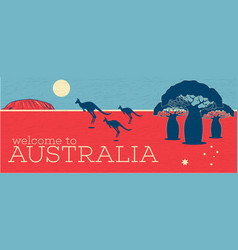 Welcome to australia vintage poster vector