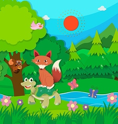 Wild animals living in the jungle vector