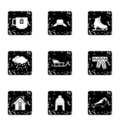 Winter frost icons set grunge style vector