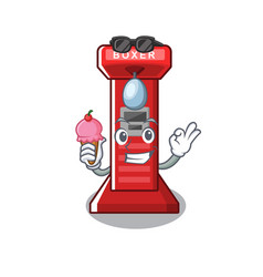 With ice cream boxing game machine on cartoon vector