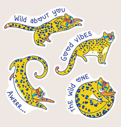 yellow jaguars characters with text vector image