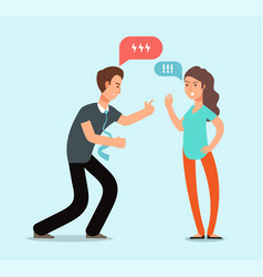 Young angry man and woman couple have quarrel vector