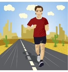 Young sport man running on asphalt road in desert vector
