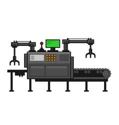 conveyor belt system with manipulators vector image
