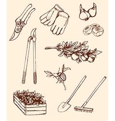 Hand drawn garden tools vector