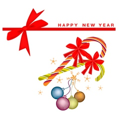New Year Card with Christmas Balls and Candy Canes vector image vector image