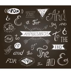 Vintage hand lettered ampersands and catchwords vector image vector image