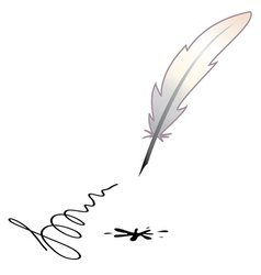 a feather and a black blotch vector image