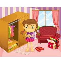 A girl wearing her uniform vector image vector image