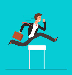 businessman jumping over hurdles business vector image vector image