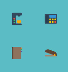 flat icons espresso machine puncher phone and vector image