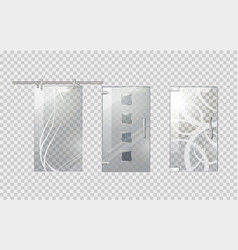 glass door collection on transparent background vector image vector image