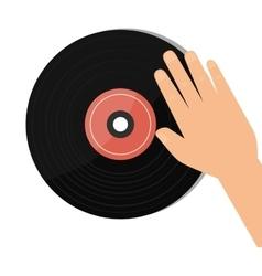 vinyl retro music icon vector image vector image
