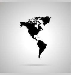 america with greenland silhouette simple black vector image vector image