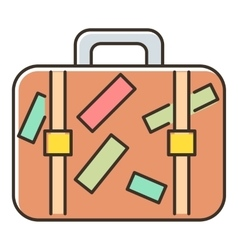 Brown travel suitcase with stickers icon vector image vector image