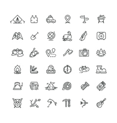 Camping and outdoor line icons set vector image