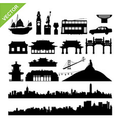 hong kong landmark and skyline silhouettes vector image