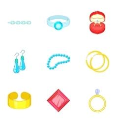 Luxury jewels icons set cartoon style vector image