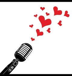 Microphone heart love valentines day vector image