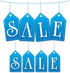 sale label tags blue vector image