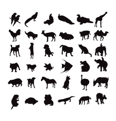 silhouette set of animals vector image vector image