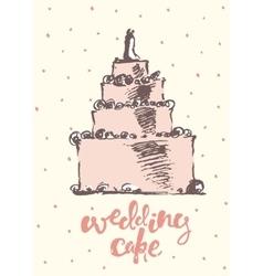 Vintage drawn wedding cake vector image vector image