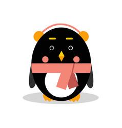 cute cartoon penguin character wearing headphones vector image vector image