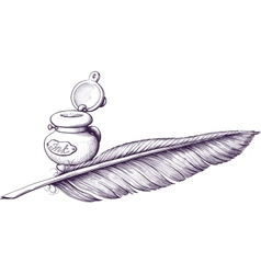 Inkwell and quill pen vector image vector image