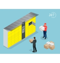 Isometric Parcel Delivery Lockers Self-service vector image