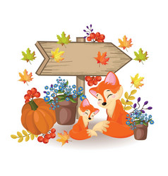 wooden sign a cute fox pumpkin and flowers fall vector image