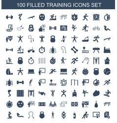 100 training icons vector