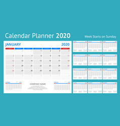 2020 year calendar holiday event planner week vector image