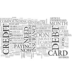 A debt checklist text word cloud concept vector