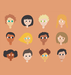 A set children faces from different vector