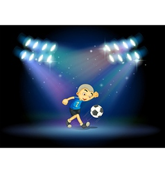 A young football player at the stage vector