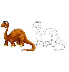 animal outline for long neck dinosaur vector image vector image
