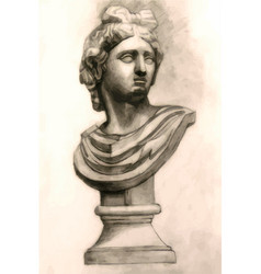 antique antinous plaster bust academic drawing vector image