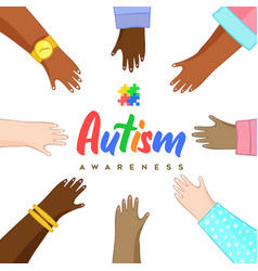 Autism awareness day diverse kid friends hand card vector