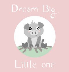 Baby piglet with baby pink background vector