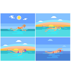 backstroke and butterfly set vector image