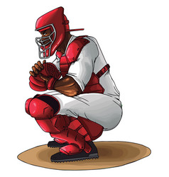 baseball catcher ready to catch ball on vector image