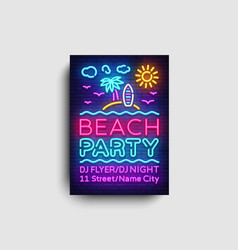 Beach party invitation card design template vector