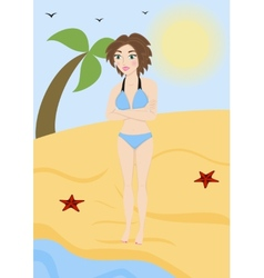 Beautiful woman in a bathing suit on the beach vector image
